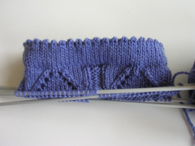 Blue lacy handknitted socks