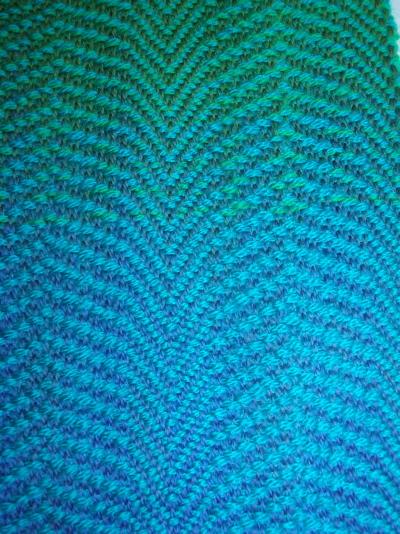 Warp painted rainbow scarf - detail