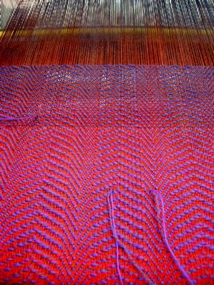 rainbow scarf painted warp