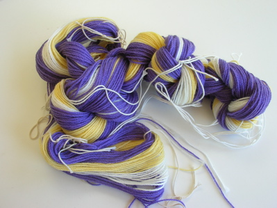 mauve and yellow scarf warp