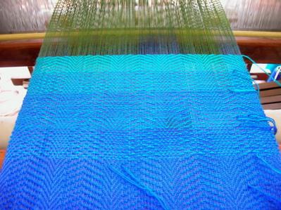 Rainbow scarf - blue into jade