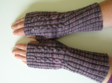 Handknitted fingerless mitts