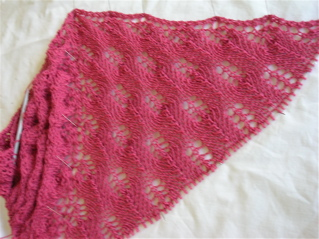 Pattern: Shetland Triangle by Evelyn Clark. Yarn: Bendigo Colonial 5ply
