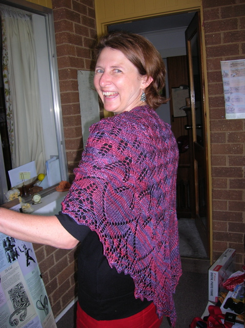 Andrea wearing her Aeolian Shawl