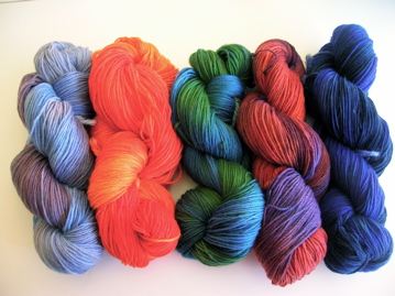 Hand painted yarns