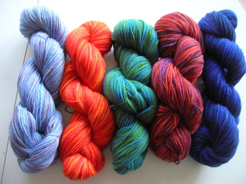 Hand painted yarns after reskeining