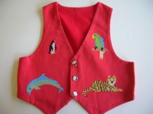 Cross-stitched zoo waistcoat