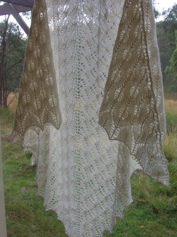 Pattern: Shteland Triangle. Yarn: Bendigo Luxury 4 ply