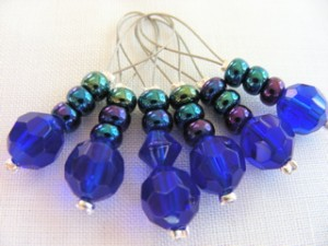 Rich blue glass bead stitchmarkers