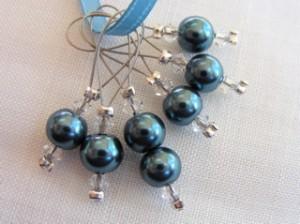 Glass pearl & swarovski crystal stitchmarkers