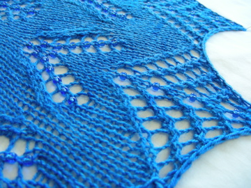 Knitted shawl - bead detail