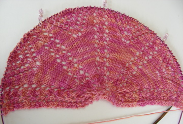 Aurora's Light shawl in progress