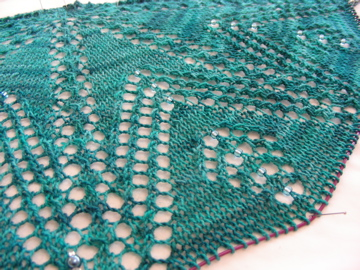 Christmas Lights Shawl progress