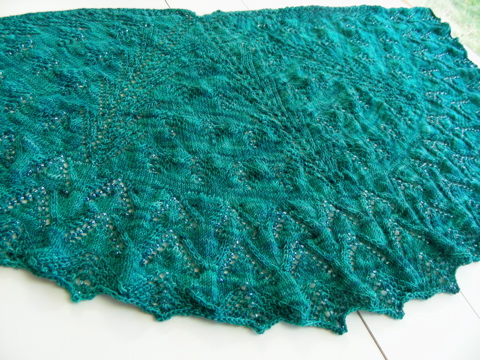 Christmas Lights Shawl before blocking