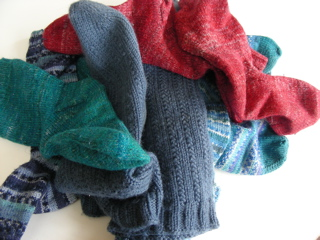 Pile of hand-knitted socks