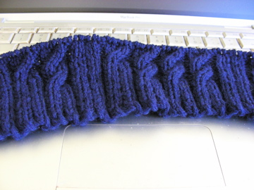 Binary Cable Hat in progress