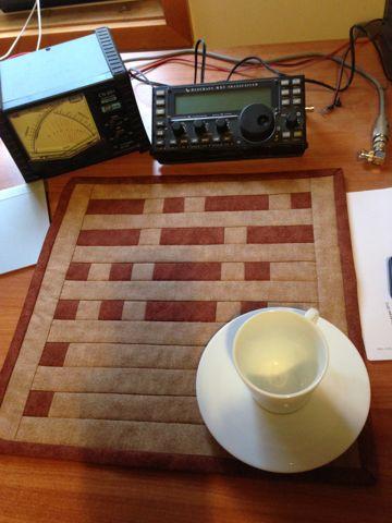 Quilted Morse Code mug rug