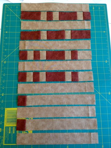 Mug Rug tutorial: Completed strips in order