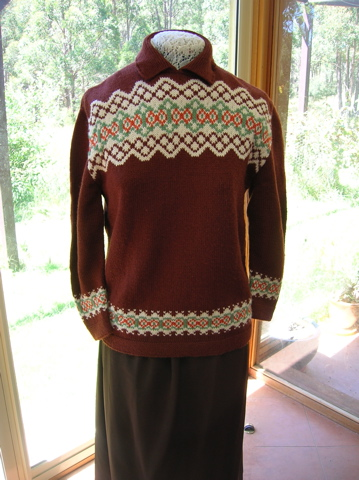Brown patterned yoke handknittedjumper