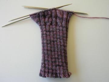 Fingerless mitts, handknitted in The Knittery merino/cashmere yarn