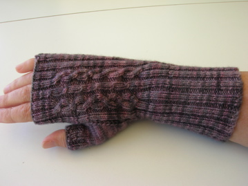 Hand knitted fingerless mitt