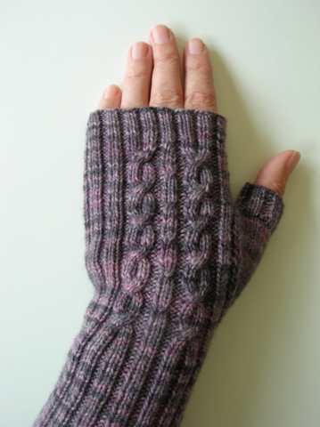 Hand knitted fingerless mitts