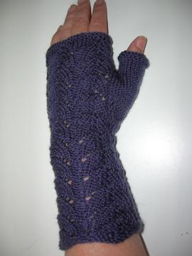 Hand knitted lacy fingerless mitten