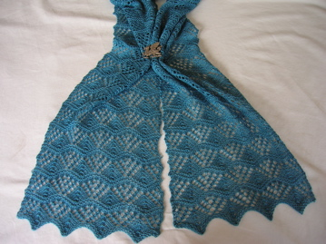 Pattern: Three Sisters Scarf # Two by Monika Steinbauer Yarn: The Knittery Merino/silk 2ply
