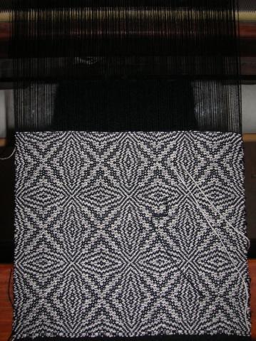 Overshot wool/silk scarf