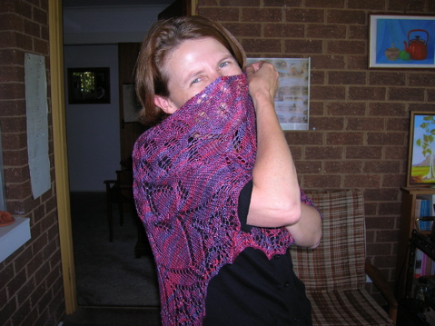 Andrea wearing her shawl