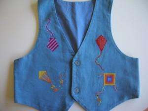 Cross-stitched kite waistcoat