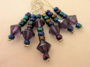 Iridescent purple glass bead stitch markers