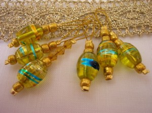 Yellow and gold glass bead stitch markers
