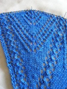 Blue shawl beginning