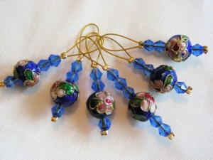 Cloisonné and glass bead knitting stitch markers