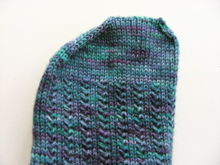 Hand-knitted sock with shaped toe