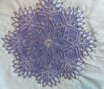 Knitted doily blocking