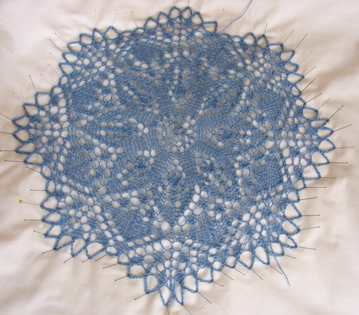 Little Flower Doily blocking