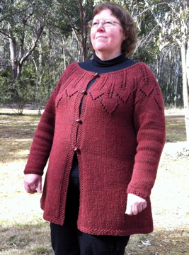 Handknitted cardigan. Pattern: modified Helmi. Yarn: Bendigo Rustic 12 ply
