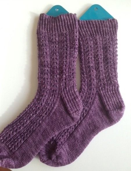 Hand knitted socks - Double eyelet pattern