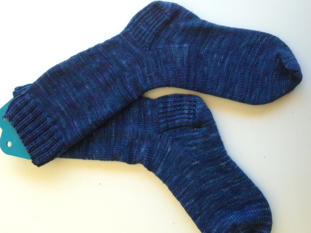 Midnight blue plain handknit socks