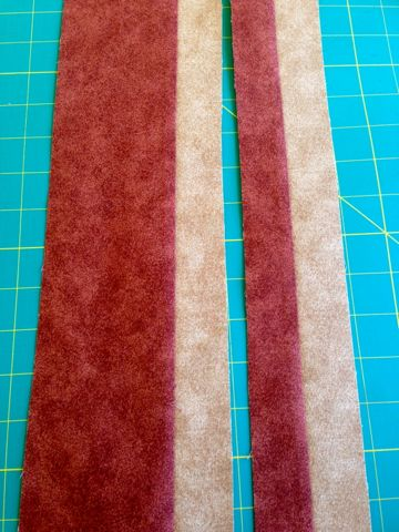 Fabric strips sewn together